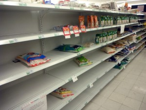 Empty Store Shelves that Need to be faced (Facing)